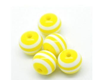 10 striped beads 10mm yellow resin set