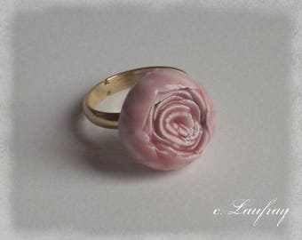 Ring shaped ceramic flower romantic pastel pink color