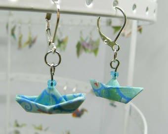 Blue Origami Boat Earrings