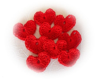 9 hearts in red crochet cotton
