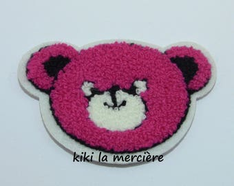 patch, applique, patch Terry fuchsia Teddy head has sewing