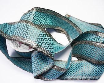 Ribbon Indian blue Sequin copper 5.4 cm x 50 cm