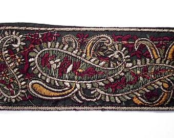 Embroidered Ribbon mechanical black/green red Orange Brown 6 cm x 1 m