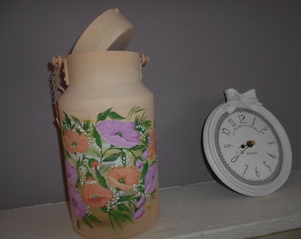 """""""garden flowers"""" hand painted milk can old repaints"""