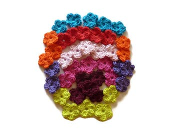 Mini crochet cotton flowers