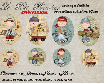 """80 images for collage digital cabochons, jewelry print """"The little Builder"""" blue, green, boy, tools, Daddy"""