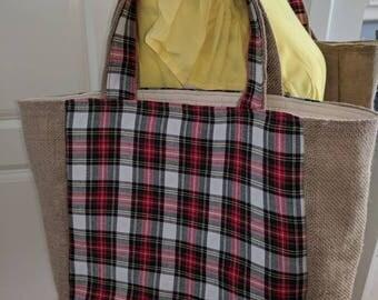 Christmas burlap tote bag/Hessian tote bag/ Christmas gift bag/ Christmas shopping tote