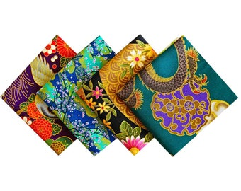 Assortment Japanese fabric - Fabric - 4 Coupons 24x25cm CP43 unity set