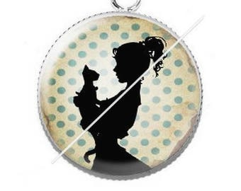 Pendant cabochons 25mm lady and her cat 9