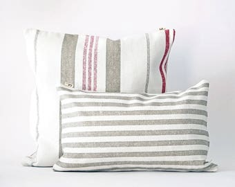 Decorative pillow Vintage, cotton, with stripes