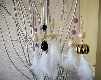 Christmas pendants white feathers and beads different colors