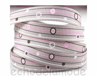 Ribbon grosgrain color taupe black white pink planets ref 2