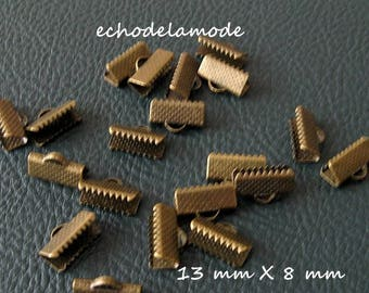 1 lot 20 caps clips claws for 13 mm X 8 mm bronze bias tape