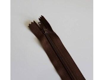 Chestnut brown not separable zipper 18 cm, couture quality zipper