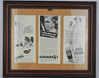 "Vintage Framed 1939 WWII Issue of 'Life' Magazine Women's Ladies Product Adverts 11"" x 10"""