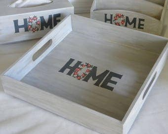 """""""Home"""" collection wooden serving tray style aged"""