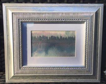 Small original watercolour landscape Painting. Framed. 'Majestic Morning' Dorset
