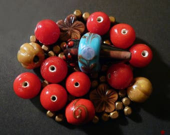 45 handmade Indian Red glass beads, gold...