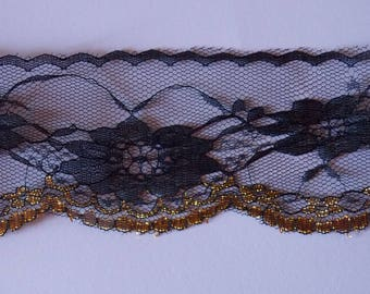 1 meter of pretty lace large flower black and Gold Ribbon 70mm