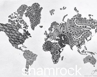 World map in Mandala style