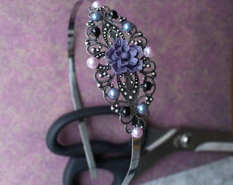 Victorian Gothic headband headband flower purple + black resin, half synthetic Pearl gray, black, purple, holding the head