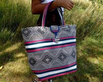 Large tote bag braided Senegalese - black, white, red, blue - SENSAC06