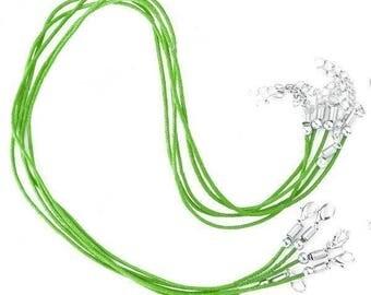 Set of 2 cords length 45 cm green waxed cotton Choker