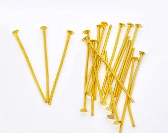 50 PCs stem 20 x 0.7 mm flat head, gold color