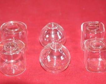 """Set of 6 vases"" glass vases"