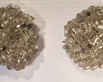 Vintage Post Earrings Silver Clear Crystal Beaded Cluster Knot