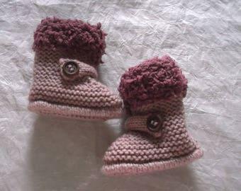 Booties baby knitted studs