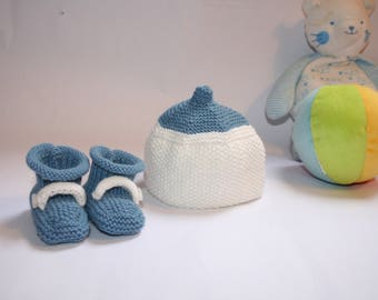 Birth Kit: set hat and booties, size Preemie hand knitted, Beanie and slippers for premature babies