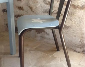 OLD METAL AND WOOD VINTAGE CHAIR STYLE TOLIX KIDS BLUE VERDIGRIS PATINA