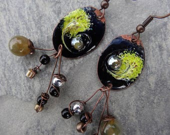 "Poetic earrings ""magical night"" - enamel, agate, glass beads, copper"