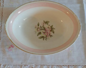 Homer Laughlin Eggshell Nautilus Serving Bowl Dish Pink Floral