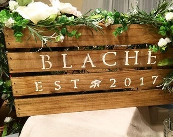 rustic wooden card crate for weddings