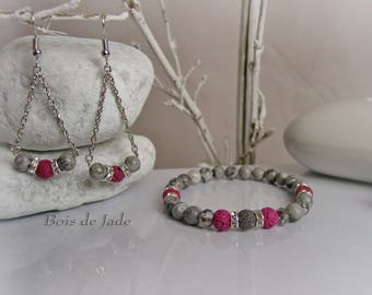 Set bracelet & earrings with natural stones Reference BJ-109