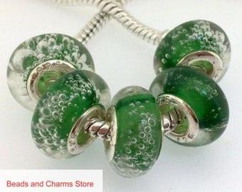 Green Bubbles Lampwork Murano Glass Bead Charm For European Bracelet BeadsAndCharmsStore