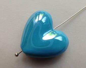 1pc blue porcelain heart Bead 20mm iridescent glazed earthenware pottery / * 1.