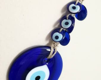 Large glass  blue evil eye wall hanging- 13 cm blue evil eye  wall decor-blue evil eye home decor-housewarming gift evil eye and-glass decor