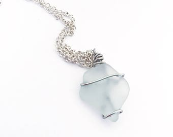 White Sea Glass Adjustable Necklace
