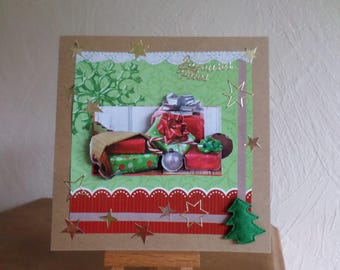 card in 3D with gifts