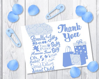 Boy Baby Shower Thank You Card Printable | Blue Pregnancy Maternity Physique Typography Illustration Card | Instant Download | Digital File