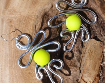 Silver Aluminum and yellow neon bead earrings, silver attachment
