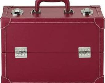 Burgundy leather sewing box