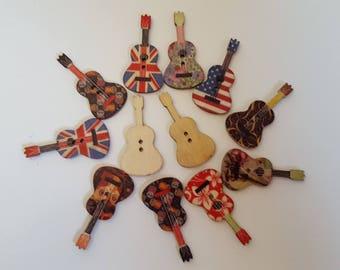 Set of 5 wooden guitar buttons