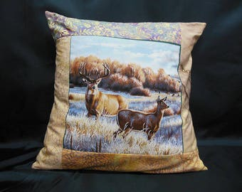 "Collection ""Indian summer"", square Cushion cover 1 deer and her DOE (C300)"