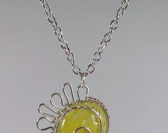 Pendentif Soleil bille plate jaune