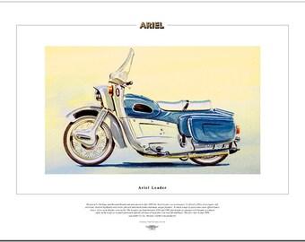 ARIEL LEADER - Motor Cycle Fine Art Print - 250cc Twin with screen & legshields