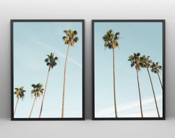 Palm Trees Print Tropical, Black And White Tropical Tree Print, 2 Piece Wall  Art